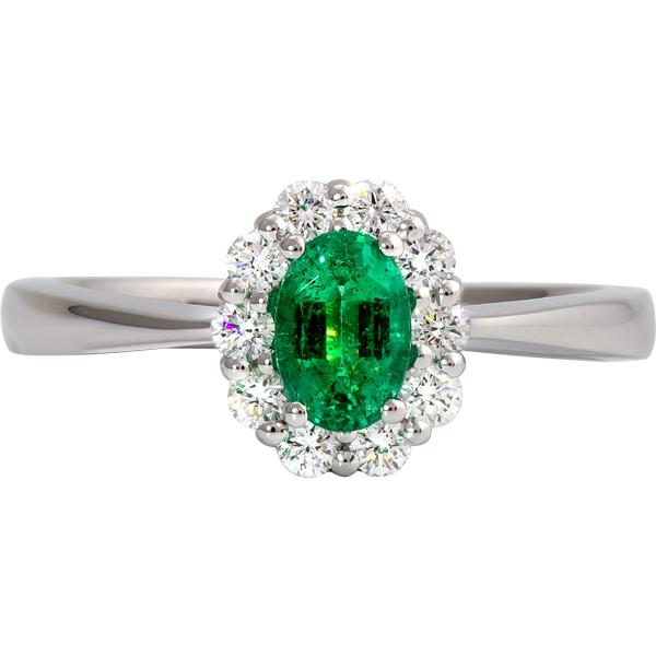 Emerald and Diamond Ring - 14k white gold Emerald and Diamond ring. Diamonds=.32ct tw emerald=.38ct