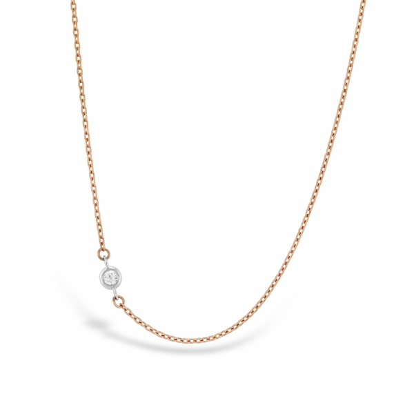 Hearts On Fire - 18kw Hearts On Fire Signature Off-Set Single Bezel Diamond necklace .02ct