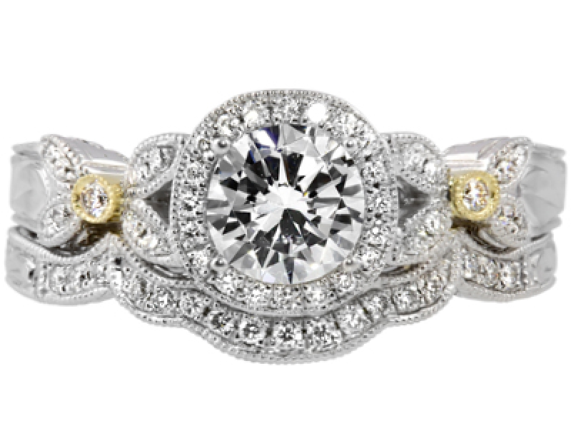 3/4ct tw Engagement Ring - 14k wht/yel trim, 3/4cttw dia engagement ring, center=.50ct HSI13