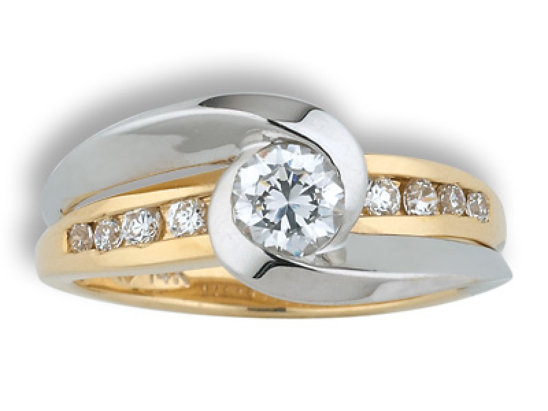3/4ct tw Engagement Ring - 14k two-tone 3/4ct tw diamond ring, center=3/8ct HSI1