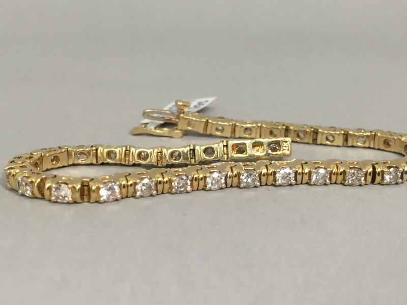 Diamond Bracelet - 14k yellow gold 2.5ct total weight diamond tennis bracelet, I SI2, 7