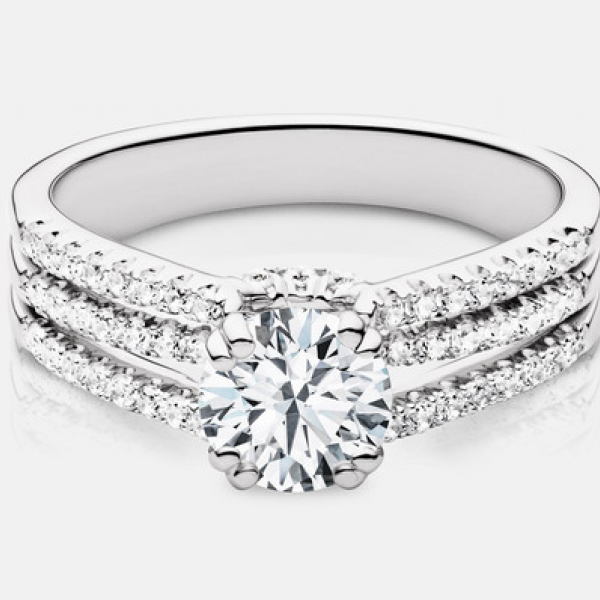 1.29ct tw Engagement Ring - Lds 14k wht Rihanna 1.29ct tw diamond engagement ring, center=.90ct GSI2