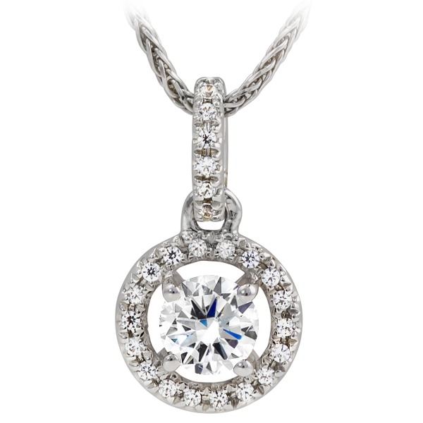 "1/3ct tw Diamond Pendant - 14k white gold 1/3ct total weight diamond pendant on an 18"" wheat chain."
