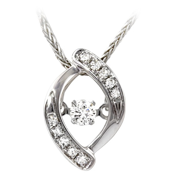 1/8ct tw Diamond Pendant - 14k white gold 1/8ct total weight Diamonds In Motion diamond pendant.