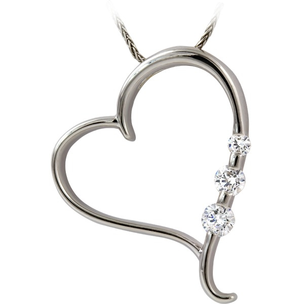 1/3ct tw Diamond Pendant - 14k white gold heart pendant with 1/3ct total weight of diamonds.