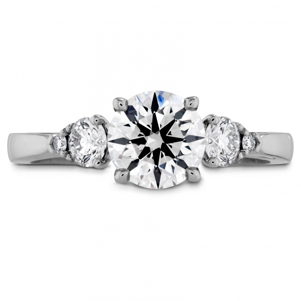 Hearts On Fire - 18kw .68cttw HOF Signature Three Stone Engagement ring, HOF134106=.526ct GSI1, sensational quality