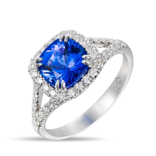 Tanzanite Ring - 14k wht 2.11ct Tanzanite Ring, diamonds=.39ct tw