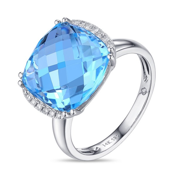 Blue Topaz Ring - 14k white gold Blue Topaz Ring with .07ct tw diamonds