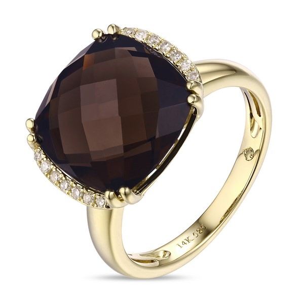 Smoky Topaz Ring - 14k yellow gold Smoky Topaz Ring with .07ct tw diamonds