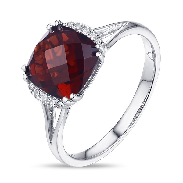 Garnet Ring - 14k white gold Garnet Ring with .04ct tw diamonds
