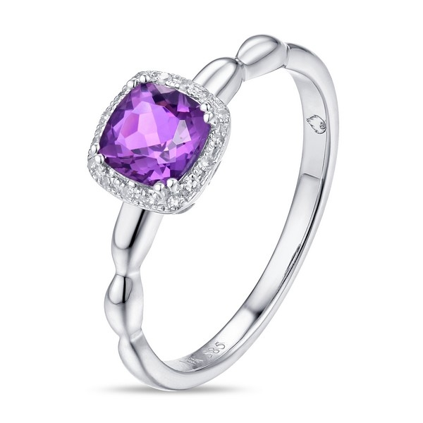 Amethyst Ring - 14k white gold Amethyst ring with .03ct tw diamonds