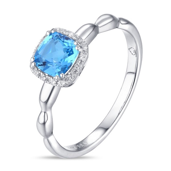 Blue Topaz Ring - 14k white gold Blue Topaz Ring with .03ct tw diamonds