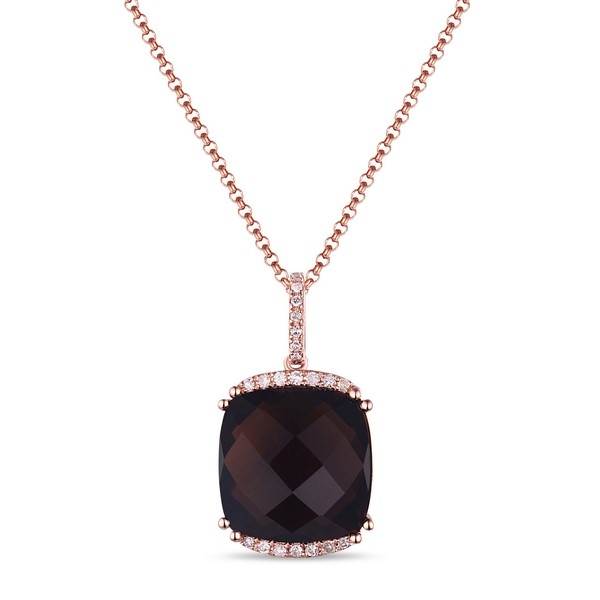 Smoky Quartz Pendant - 14k rose gold Smoky Topaz Pendant, d=.10ct tw