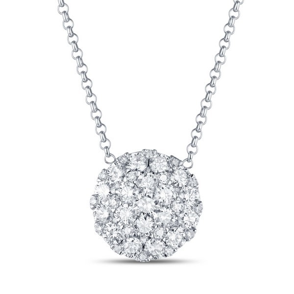 Diamond Pendant - 14k white gold .83ct tw Diamond Fashion Pendant