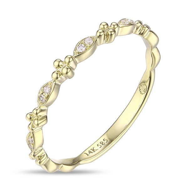 Diamond Ring - 14k yellow gold .03ct tw diamond fashhion band