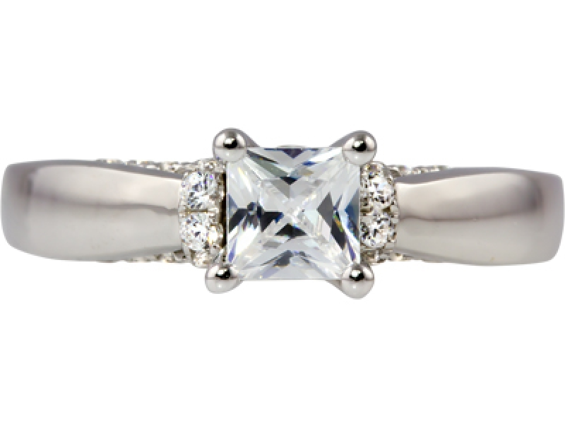 1ct tw Engagement Ring - 14kw 1ct tw princess dia eng ring, center=1/2ct princess HSI13