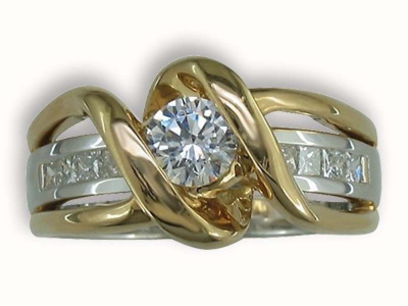 1.08ct tw Engagement Ring - 14k ttone 1.08cttw diamond ring, center=.70ct G VS2 vg
