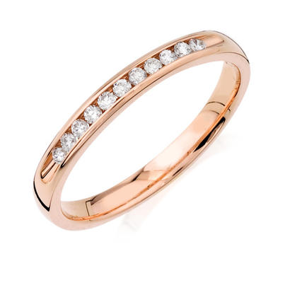 1/8ct tw Anniversary Band - 14k 1/8ct total weight channel set diamond wedding band.  This ring is available in 14k white, yellow and rose gold.