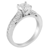 1.03ct tw Engagement Ring - Lds 14kw 1.03cttw diamond eng ring, center=.63ct GIA J SI1 very good