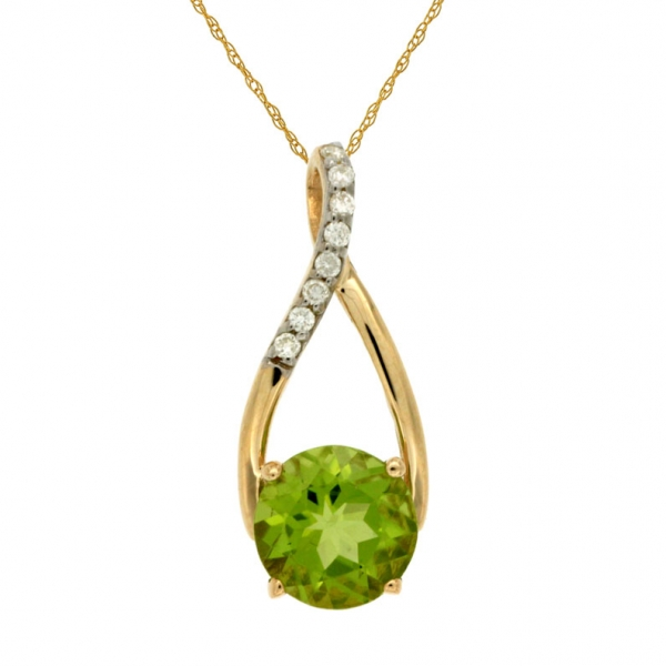 Peridot and Diamond Pendant - 14k yellow gold 1.40ct peridot pendant, .05ct tw diamonds