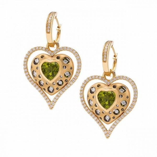 Earrings - 18kt 0.75pt Dia, Peridot Heart Earrings