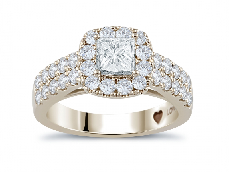 1.96ct tw Engagement Ring - 14k wht 1.96cttw diamond ring, 5/8ct cushion cut center HSI2