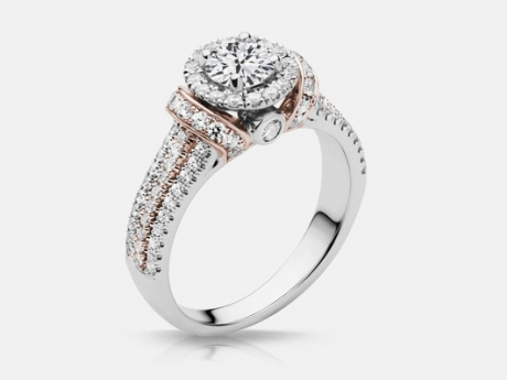 Ladies 14k Blanca Engagement Ring - 14k white with rose gold accent, Blanca engagement ring with a .53ct center diamond and 1.18ct tw.