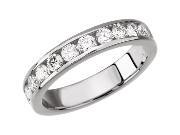 Wedding Band - Lady's White 14 Kt Channel Set Wedding Band With 0.75Tw Round Brilliant Cut I Si3 Diamonds