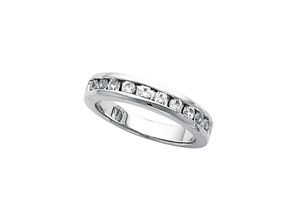 Wedding Band - Lady's White 14 Kt Channel Set Ring With 1.00Tw Round Brilliant Cut I Si3 Diamonds