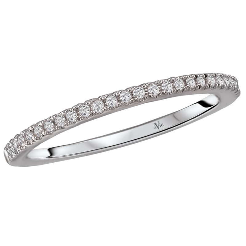 Wedding Band - Lady's White 14 Kt Slightly Curved Wedding Band With 0.10Tw Round Brilliant Cut G/H Si1 Diamonds