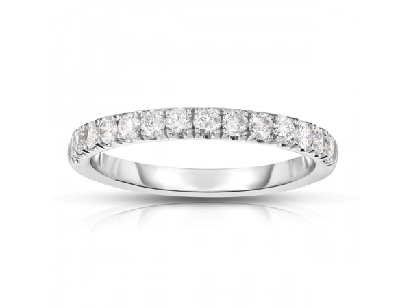 Wedding Band - Lady's White 14 Kt Shared Prong Wedding Band With 0.50Tw Round Brilliant Cut H/I I1 Diamonds