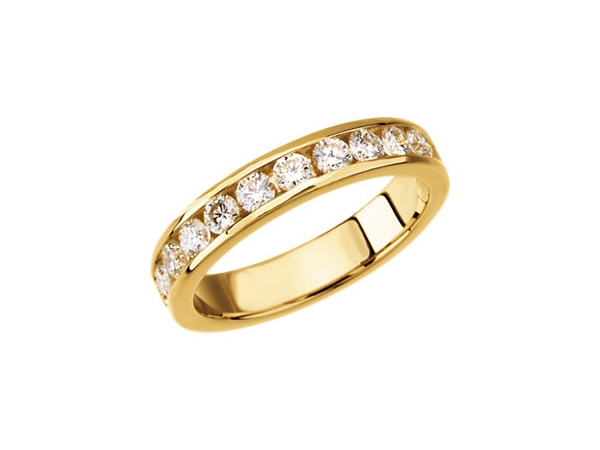 Wedding Band - Lady's Yellow 14 Kt Channel Set Wedding Band With 0.50Tw Round Brilliant Cut H/I Si3 Diamonds.