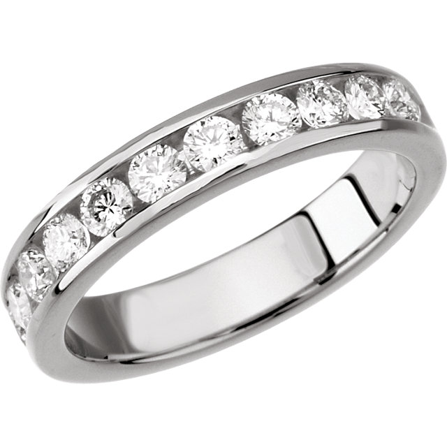 Wedding Band - Lady's White 14 Kt Channel Set Wedding Band With 0.25Tw Round Brilliant Cut H/I Si3 Diamonds