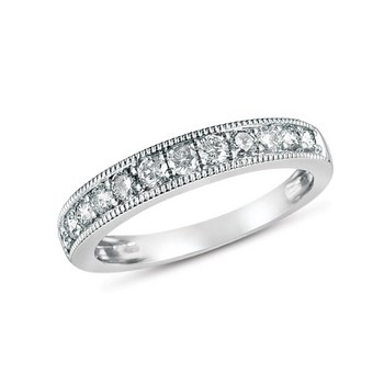 Wedding Band - Lady's White 14 Kt Shared Prong Wedding Band With 1.00Tw Round Brilliant Cut G/H Si2 Diamonds