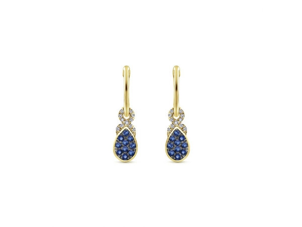 Earrings - Lady's Yellow 14 Kt Drop Earrings With 0.26Tw Round Brillant Cut Sapphires And 0.10Tw Round Brilliant Cut H/I I1 Diamonds