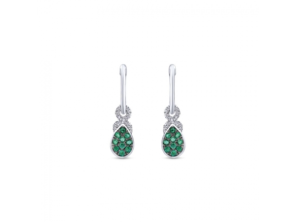 Earrings - Lady's White 14 Kt Drop Earrings With 0.20Tw Round Brillant Cut Emeralds And 0.11Tw Round Brilliant Cut H/I I1 Diamonds