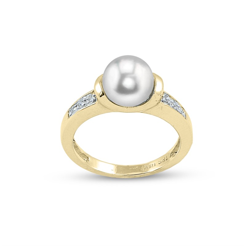 Pearl Ring - Lady's Yellow 14 Kt Freshwater Pearl Ring With 0.06Tw Round Brilliant Cut Diamonds