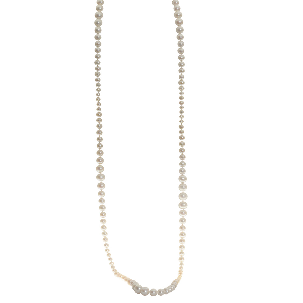 Pearl Strand - Lady's 4.0-10.0 Mm Sterling Silver Alternate Graduated Pearl Strand Length: 38