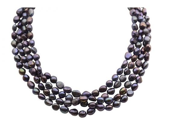 Pearl Strand - Lady's 8.00-9.00 Mm Dyed Black Baroque Fresh Water Pearl Strand Length: 80