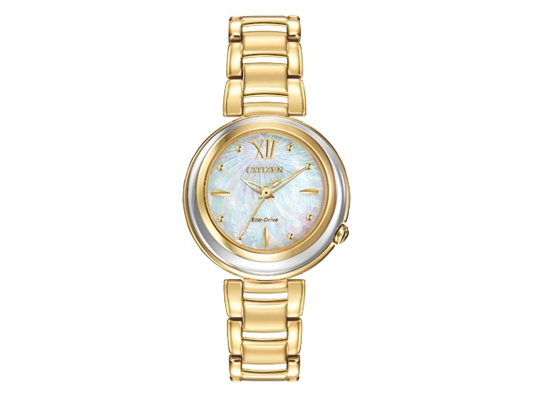 Citizen Eco-Drive Watch - Lady's Yellow Stainless Steel Dress Citizen Eco-Drive Watch