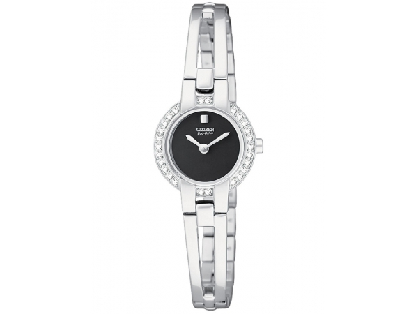 Citizen Eco-Drive Watch - Lady's White Stainless Steel Dress Citizen Eco-Drive Watch
