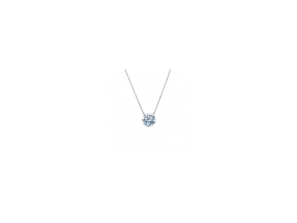 Necklace - Sterling Silver Solitarie Necklace With 2.00Tw Round Brilliant Cut Lab Created Gemstones