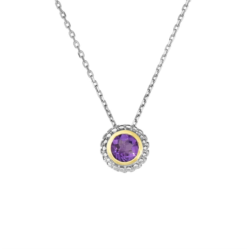Necklace - Sterling & 18Kt Amethyest Necklace