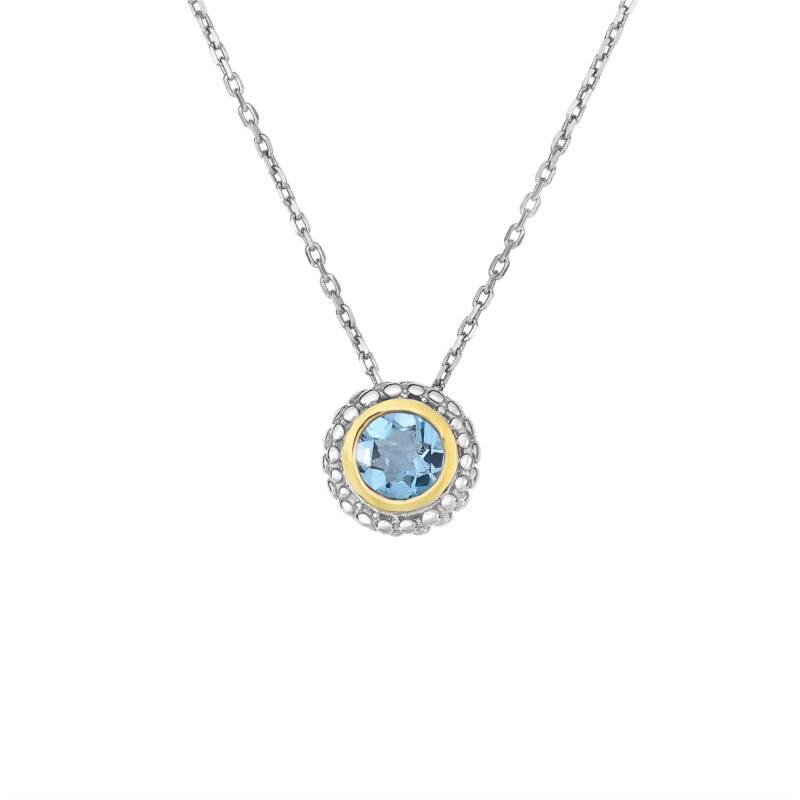Necklace - Sterling & 18Kt Blue Topaz Necklace