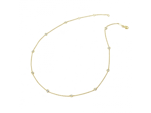 Necklace - Vermeil Stones By The Yard Necklace With 1.10Tw Round Brilliant Cut Lab Created Gemstones