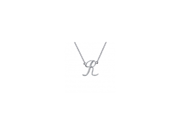 Necklace - Sterling Silver Initial R Necklace With 0.05Tw Round Brilliant Cut Lab Created Gemstones