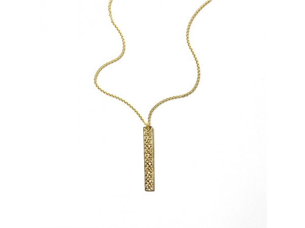 Necklace - Yellow Vermeil Balcony Bar Necklace Length 18
