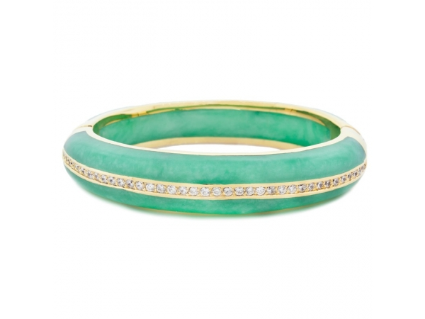 Stainless Steel Bracelet - Vermeil Mint Resin Bangle With Cz Stainless Steel Bracelet