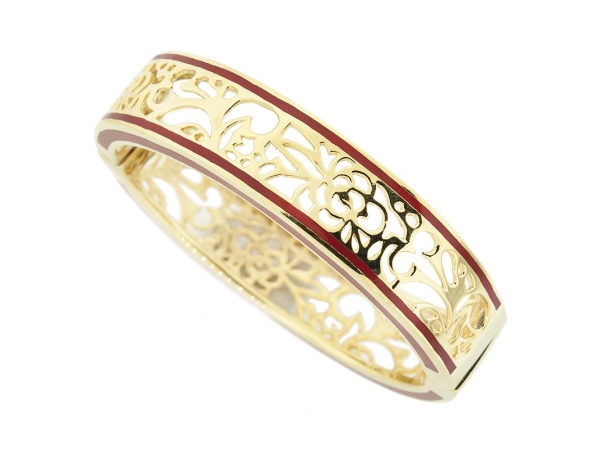 Stainless Steel Bracelet - Vermeil Red Resin Perception Bangle Stainless Steel Bracelet