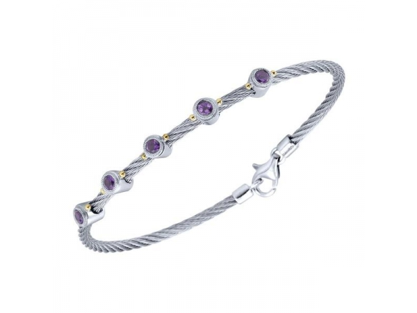 Stainless Steel Bracelet - Cable Stainless Steel Bracelet With 0.52Tw Round Brillant Cut Amethysts